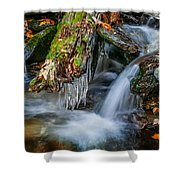 Dragons Teeth Icicles Waterfall Great Smoky Mountains  Shower Curtain