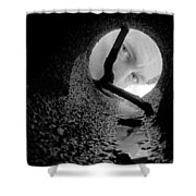 Drain Pipe - Artist Self Portrait Shower Curtain by Gary Heller