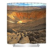 Draining Into The Crater Shower Curtain