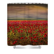 Drama Over The Flower Fields Shower Curtain