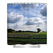 Dramatic Blustery Sky Over The Hayfield Shower Curtain