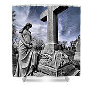 Dramatic Gravestone With Cross And Guardian Angel Shower Curtain