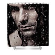 Dramatic Portrait Of Young Man Wet Face With Long Hair Shower Curtain