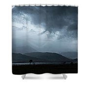 Dramatic Sky Over Silhouettes Shower Curtain