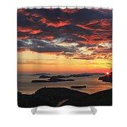 Dramatic Sunset Over Dubrovnik Croatia Shower Curtain