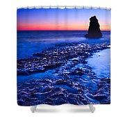 Dramatic Sunset View Of A Sea Stack In Davenport Beach Santa Cruz. Shower Curtain by Jamie Pham
