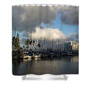 Dramatic Tropical Storm Light Over Honolulu Hawaii  Shower Curtain
