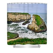 Dramatic View Of Shark Fin Cove In Santa Cruz California. Shower Curtain