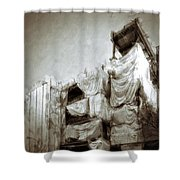 Draped Building Shower Curtain