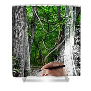 Drawn To The Woods With Imagination Shower Curtain