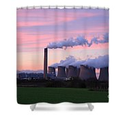 Drax Power Station At Sunset Shower Curtain