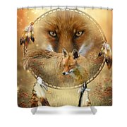 Dream Catcher- Spirit Of The Red Fox Shower Curtain by Carol Cavalaris