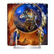 Dream Catcher - Wolf Dreams Patriotic Shower Curtain