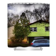 Suburban Dream - House With Blue Car Shower Curtain
