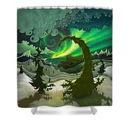 Dream Landscapes Aurora Green Shower Curtain