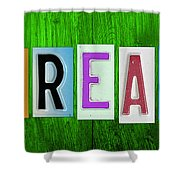 Dream License Plate Letter Vintage Phrase Artwork On Green Shower Curtain