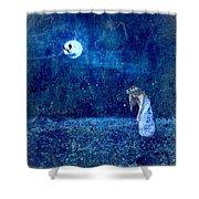 Dreaming In Blue Shower Curtain by Rhonda Barrett
