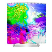 Dreaming Of Rainbow Horses Shower Curtain