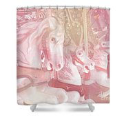 Dreamy Baby Pink Merry Go Round Carousel Horses - Pink Carousel Horses Baby Girl Nursery Decor Shower Curtain