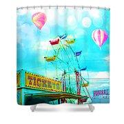 Dreamy Carnival Ferris Wheel Ticket Booth Hot Air Balloons Teal Aquamarine Blue Festival Fair Rides Shower Curtain