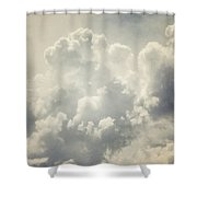 Dreamy Clouds In Shades Of Grey And Slate Blue Shower Curtain