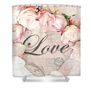 Dreamy Shabby Chic Roses Heart With Love - Love Typography Heart Romantic Cottage Chic Love Prints Shower Curtain