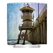 Dreamy Day At Huntington Beach Pier Shower Curtain