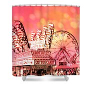 Surreal Hot Pink Orange Carnival Festival Cotton Candy Stand Candy Apples Ferris Wheel Art Shower Curtain