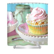 Dreamy Shabby Chic Cupcake Vintage Romantic Food And Floral Photography - Pink Teal Aqua Blue  Shower Curtain