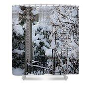 Dreamy Snowy Cross Shower Curtain