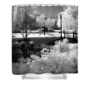Surreal Infrared Black White Infrared Nature Landscape - Infrared Photography Shower Curtain