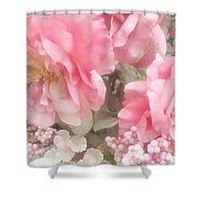 Dreamy Pink Roses, Shabby Chic Pink Roses - Romantic Roses Peonies Floral Decor Shower Curtain