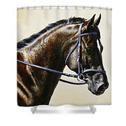 Dressage Horse - Concentration Shower Curtain by Crista Forest
