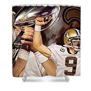 Drew Brees New Orleans Saints Quarterback Artwork Shower Curtain