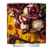 Dried Pink Roses And Key Shower Curtain