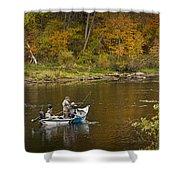 Drift Boat Fishermen On The Muskegon River Shower Curtain