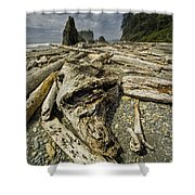 Driftwood And Sea Stacks On Ruby Beach Shower Curtain