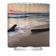 Driftwood On The Beach Shower Curtain by Adam Romanowicz