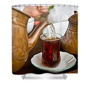 Drinking Traditional Turkish Tea Shower Curtain