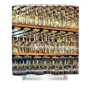 Drinks On The House In Smoky Gold Shower Curtain