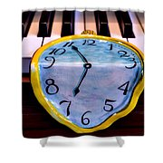 Dripping Clock On Piano Keys Shower Curtain by Garry Gay
