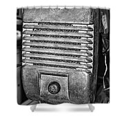 Drive In Movie Speaker In Black And White Shower Curtain by Paul Ward