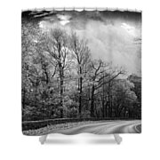 Drive Through The Mountains Bw Shower Curtain