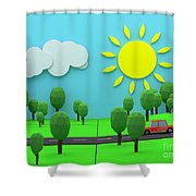 Driving Through Countryside Shower Curtain