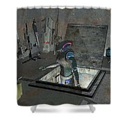 Droid Discovering A Weapons Cache Shower Curtain