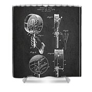 Droop Hand  Drum Patent Drawing From 1892 - Dark Shower Curtain
