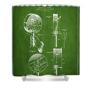 Droop Hand  Drum Patent Drawing From 1892 - Green Shower Curtain