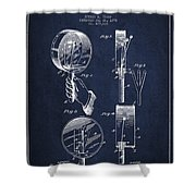 Droop Hand  Drum Patent Drawing From 1892 - Navy Blue Shower Curtain