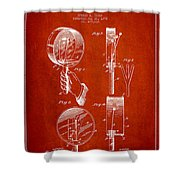 Droop Hand  Drum Patent Drawing From 1892 - Red Shower Curtain