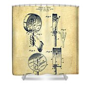 Droop Hand  Drum Patent Drawing From 1892 - Vintage Shower Curtain